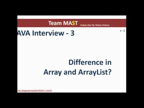 Java Interview Series - 3 (Difference in array and ArrayList) | Team MAST