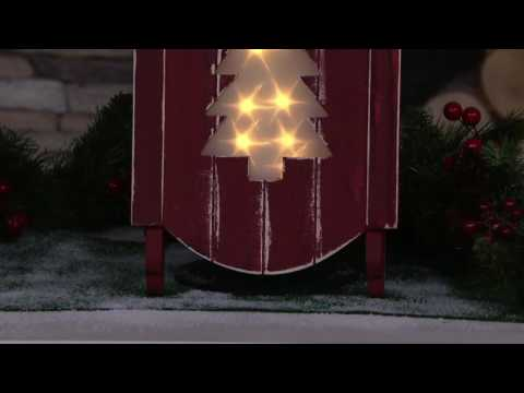 Plow and Hearth Wooden Sled w/ Illuminated Holographic Cut Out Design on QVC
