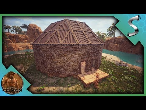 BUILDING THE NEW BASE! OUR ROUND BUILDING WORKSHOP! - Conan Exiles [Full Release Gameplay E7]