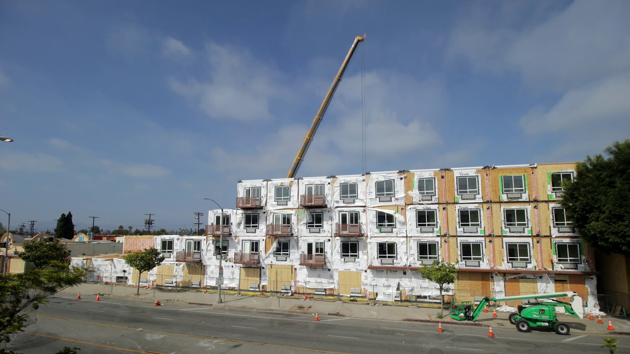 4252 Crenshaw, Los Angeles Modular Apartments - Drone and Timelapse Video