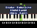 How To Play Fake Love By Drake - Right Hand Slow Easy Piano Tutorial