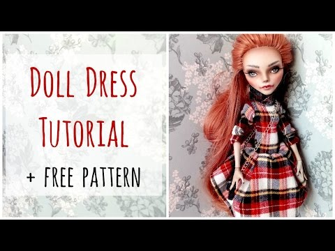 Check Dress for Monster High dolls / Cute doll dress / Doll clothes / Sewing / Tutorial