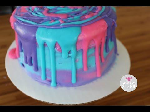 NEON DRIP CONFETTI UNICORN BIRTHDAY CAKE || BAKER GIRL STEPH