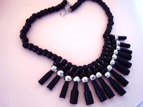 DIY BLACK PAPER BEAD NECKLACE, how to diy jewelry making