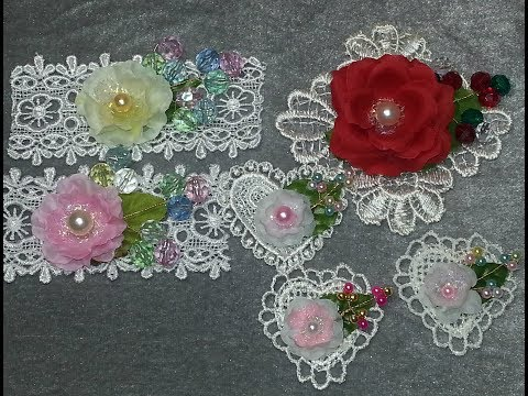 DIY~Gorgeous Pearl Spray Embellishments From Left Over Lace & Acrylic Beads!!