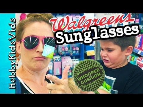 Whoopie Cushion at Walgreens! HobbyMom HUNTS for Sunglasses, Toy Shopping HobbyKidsVids
