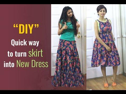 Quick way to turn skirt into new dress :) NEW DIY by Akanksha