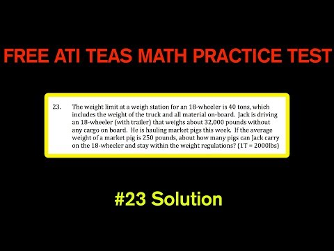 ATI TEAS MATH Number 23 Solution - FREE Math Practice Test - Pounds and Tons Conversions