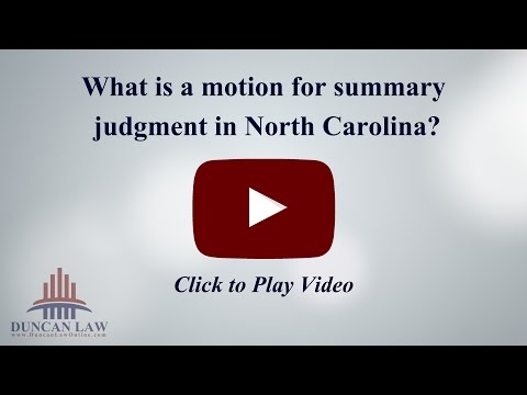 What is a Motion for Summary Judgment in North Carolina?