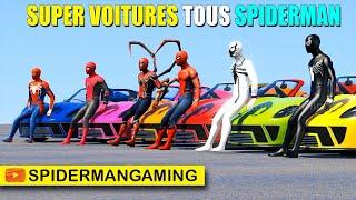 Super-Héros super voitures tous Spiderman dans le grand défi rampe jumbo
