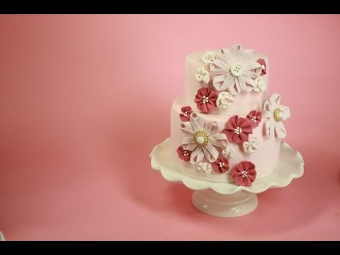 Sugar Ribbon Flower Cake- (how-to)