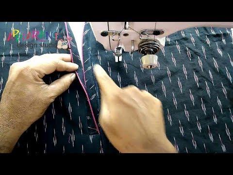 kurti neck stitching with placket
