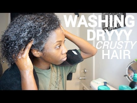 NATURAL HAIR WASH DAY ROUTINE FOR MY DRY CRUSTY HAIR! (trying new products)