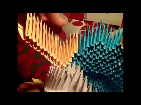 how to make a 3d origami big queen peacock