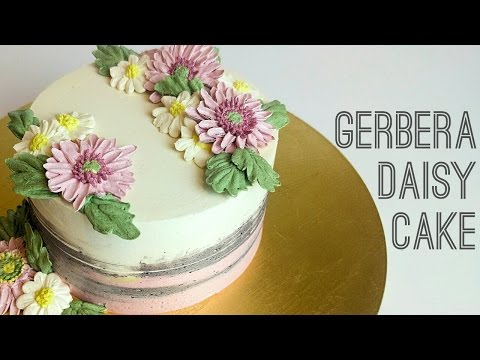 Buttercream flower cake tutorial - how to pipe Gerbera daisy & common daisies step by step