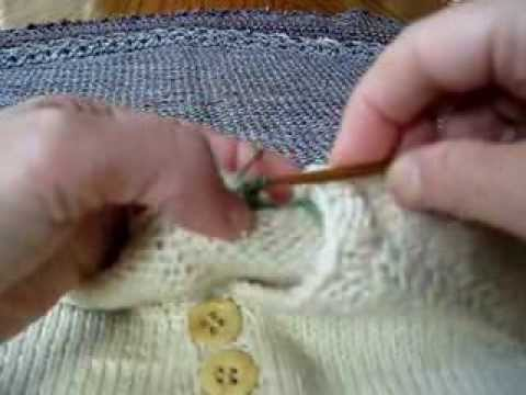 Crochet Chain on Knitted Sweater