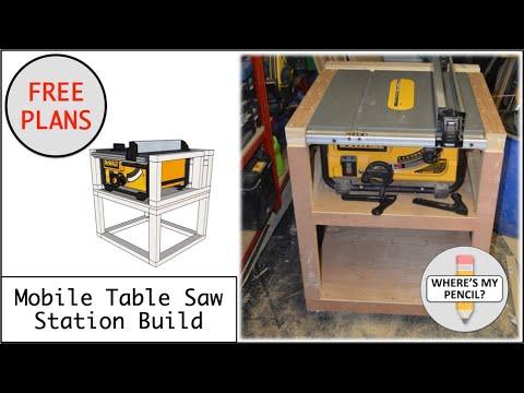 Mobile Table Saw Station Build for DeWalt DW745 - FREE PLANS