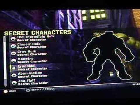 New INcredible Hulk Game- Secret Characters