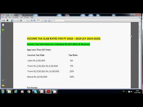 INCOME TAX SLAB RATES FY 2018 19 | IT Slab Rates For Financial Year 2018-2019