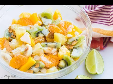 Hawaiian Fruit Salad with Honey Lime Coconut dressing