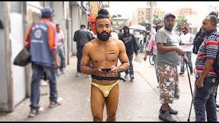 10 Hours of Walking in NYC wearing a Gold Thong