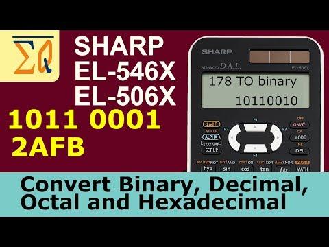 Sharp EL-546X EL506X convert Binary, Decimal, Hexadecimal and Octal