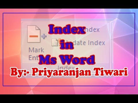 Index (Microsoft Office Word 2007/2010) Tutorial in Hindi