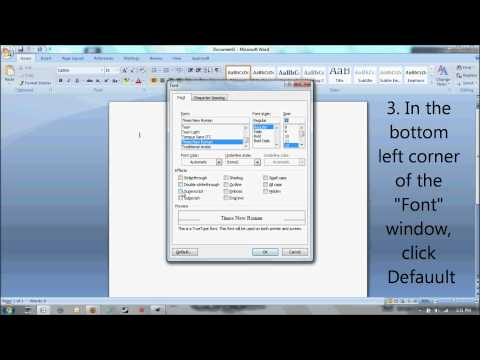 How to change the default font in Microsoft Word from Calibri 11 to Times New Roman size 12