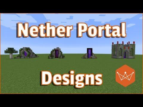 Minecraft Nether Portal Designs Tutorial survival friendly