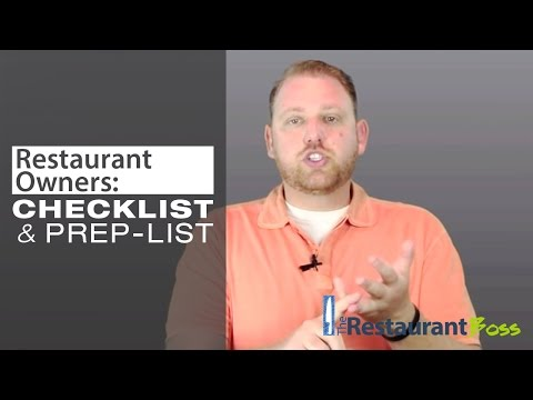 Restaurant Owners Kitchen Checklist and Prep List