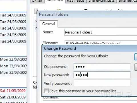 How to change the password of an Outlook PST file