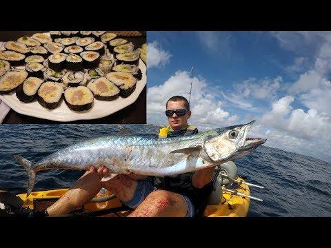 Would YOU Eat it RAW? TRASH Fish SUSHI CHALLENGE!- Catch N Cook (King Mackerel)