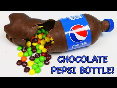 How to Make PEPSI CHOCOLATE BOTTLE Filled with Skittles Rainbow Candy!