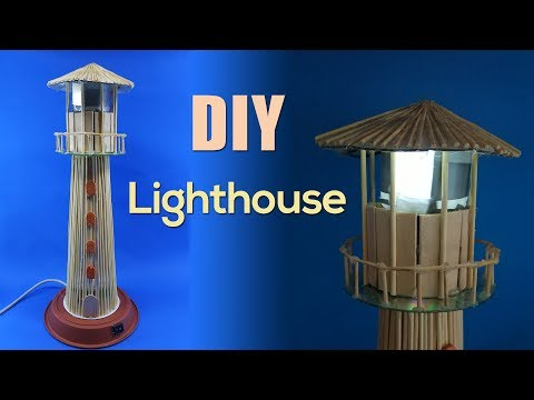 USB powered Lighthouse | Desktop Wooden sticks lighthouse lamp