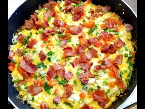 How to make a breakfast skillet with bacon eggs hash brown  99 CENTS ONLY store recipe