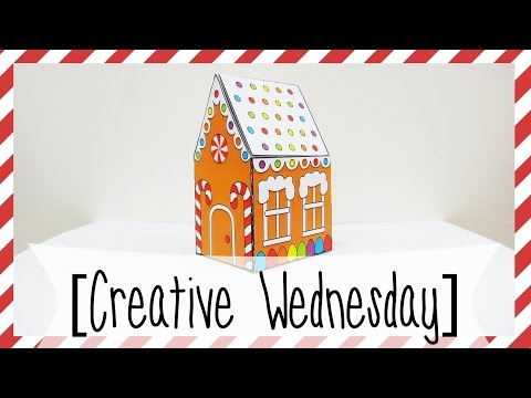 DIY POP UP GINGERBREAD HOUSE CARD! (FREE TEMPLATE) *EASY* [CREATIVE WEDNESDAY]