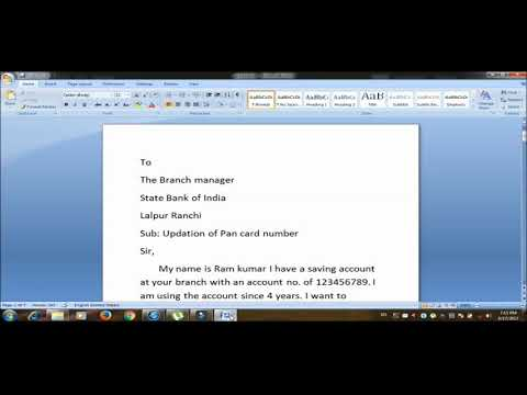 How to write application letter to bank