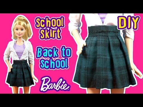 Back To School - How to Make Barbie Doll Uniform - School Skirt - DIY Barbie Clothes