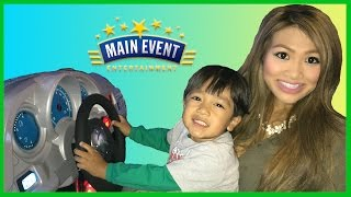 Family Fun Indoor Games and Activities for kids! Ryan and Princess T( his aunt)  from Ryan ToysReview had an awesome time playing arcade games like fruit ninja,  skeet ball, car racing games like Batman! After  playing all these fun games for kids (and adult) you can trade in your tickets to get cool toys and prizes! Such a fun kids video who loves going play area for kids that