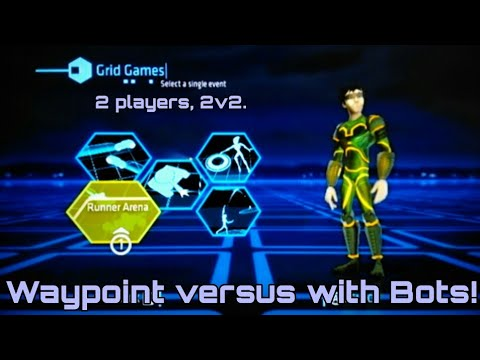 Wii Tron Evolution: Battle Grids G14, 2P local splitscreen 2v2, Runner Waypoints on Pinwheel.