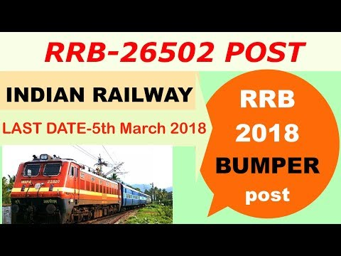 RRB Requirement -2018 ,26502 Posts in Railway recruitment Board 2018