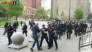 Two Buffalo police officers suspended after incident in Niagara Square that left protester injured