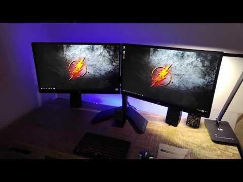 Desk Setup Tour & Vivo Dual Monitor Desk Mount Stand Review. Giveaway Details!!!