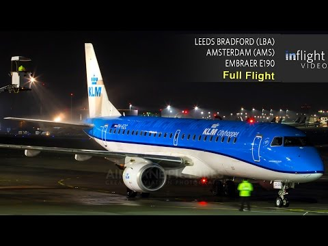 KLM Business Class Full Flight | Leeds Bradford to Amsterdam | Embraer E190 (Sunrise Flight/No ATC)
