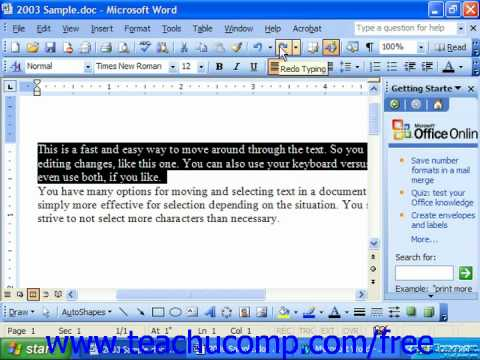 Word 2003 Tutorial The Redo Button Microsoft Training Lesson 3.4