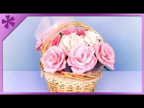 DIY How to make tissue paper roses and flower basket for wedding (ENG Subtitles) - Speed up #373