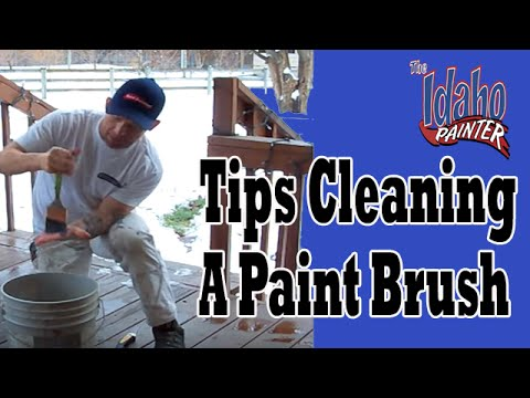 Cleaning A Paint Brush.  Life Hacks to Clean Painting Tools.
