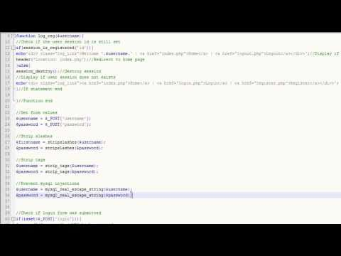 PHP Tutorial (Registation and login form part 2)