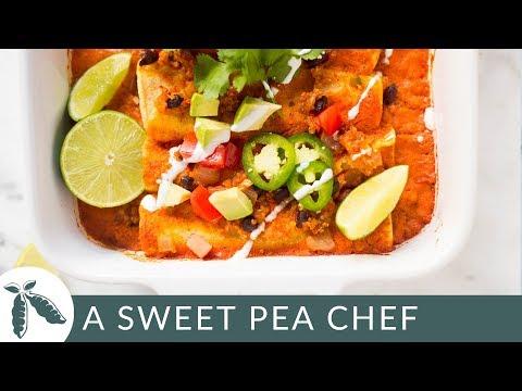 Spicy Quinoa & Black Bean Vegan Enchiladas | Easy Enchilada Recipe | A Sweet Pea Chef