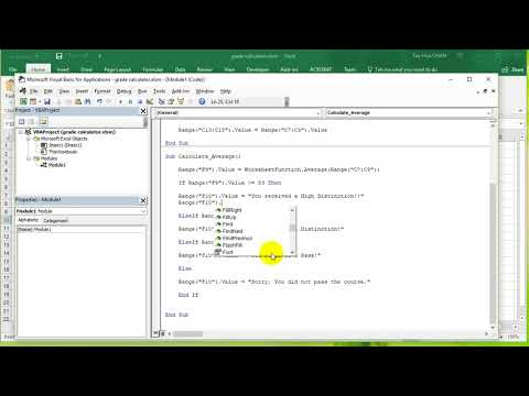 VBA Excel 2016 Lesson 7 - Elseif clause, With statement